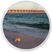 Nautilus And Pier Round Beach Towel