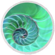 Nautilus Aqua Spiral Round Beach Towel by Gill Billington