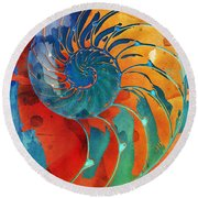 Nautilus Shell Orange Blue Green Round Beach Towel