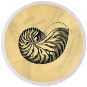 Round Beach Towel featuring the digital art Nautilus Shell Vintage by Edward Fielding