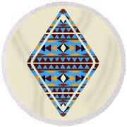 Navajo Blue Pattern Aged Round Beach Towel by Christina Rollo