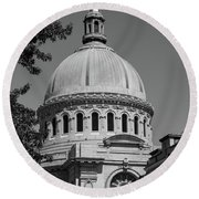 Naval Academy Chapel - Black And White Round Beach Towel