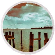 Round Beach Towel featuring the photograph Naval Academy Sailing School by T Brian Jones