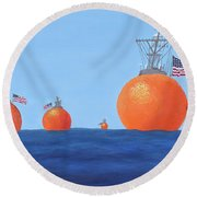 Naval Oranges Round Beach Towel
