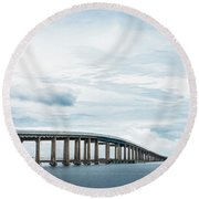 Round Beach Towel featuring the photograph Navarre Bridge In Florida On The Sound Side by Shelby Young