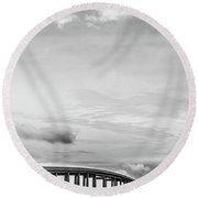 Round Beach Towel featuring the photograph Navarre Bridge Monochrome by Shelby Young