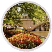 Round Beach Towel featuring the photograph Navarro Street Bridge by Steven Sparks