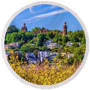 Navesink Light On The Hill Round Beach Towel