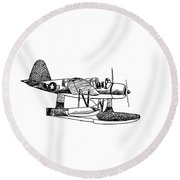 Navy Scout Observation Plane Pen And Ink No  Pi201 Round Beach Towel by Kip DeVore