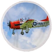 Round Beach Towel featuring the photograph Navy Trainer #2 by Tom Claud