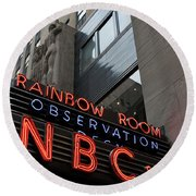 Round Beach Towel featuring the photograph Nbc Studio Rainbow Room Sign by Lorraine Devon Wilke