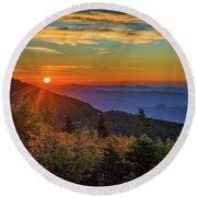 Nc Mountain Sunrise Blue Ridge Mountains Round Beach Towel