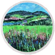 Round Beach Towel featuring the painting Near Cooperstown by Betty Pieper
