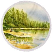 Near The Lake 4 Round Beach Towel