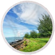 Round Beach Towel featuring the photograph Near The Shore by Charuhas Images