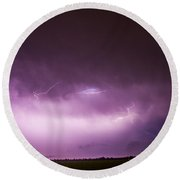 Nebraska Night Thunderstorms 013 Round Beach Towel