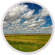 Nebraska Wheat Fields Round Beach Towel