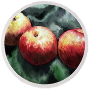 Nectarines Round Beach Towel by Joey Agbayani