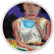 Round Beach Towel featuring the painting Need Coffee by John Williams