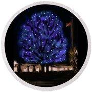 Needham's Blue Tree Round Beach Towel by Jean Pacheco Ravinski