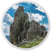 Needles Highway Rock Formation Round Beach Towel