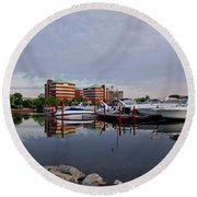 Round Beach Towel featuring the photograph Neenah Harbor by Joel Witmeyer