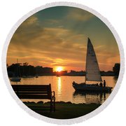 Round Beach Towel featuring the photograph Neenah Harbor Sunset by Joel Witmeyer