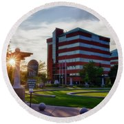 Round Beach Towel featuring the photograph Neenah Riverwalk by Joel Witmeyer