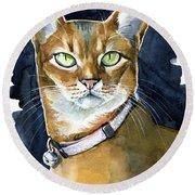 Nefertiti - Abyssinian Cat Portrait Round Beach Towel