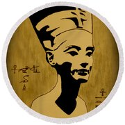 Nefertiti Egyptian Queen Round Beach Towel