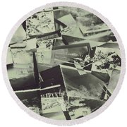 Negative Film Photo Background Round Beach Towel