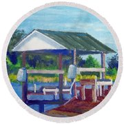 Round Beach Towel featuring the painting Neighbor's Boat Dock by Jim Phillips