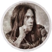 Neil Young By Mary Bassett Round Beach Towel