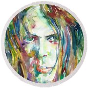 Neil Young Portrait Round Beach Towel