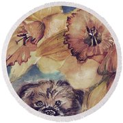 Round Beach Towel featuring the painting Nellie Mae by Mindy Newman