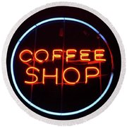 Neon Coffee Round Beach Towel