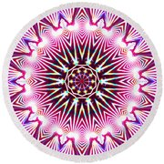 Round Beach Towel featuring the digital art Neon Explosion by Shawna Rowe