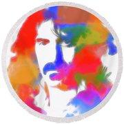 Neon Frank Zappa Round Beach Towel