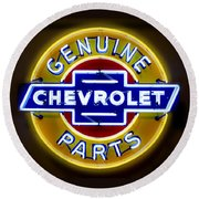 Neon Genuine Chevrolet Parts Sign Round Beach Towel