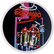 Neon Glow,brass N Copper Expresso Bar Round Beach Towel