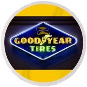 Neon Goodyear Tires Sign Round Beach Towel