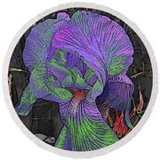Neon Iris Dark Background Round Beach Towel