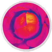 Neon Lettuce Rose Round Beach Towel by Samantha Thome