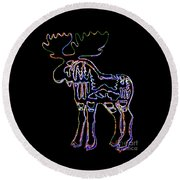 Neon Moose Round Beach Towel