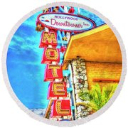 Neon Motel Sign Round Beach Towel by Jim And Emily Bush