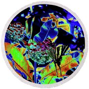 Neon Nature Round Beach Towel