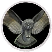 Round Beach Towel featuring the digital art Neon Owl by Rand Herron