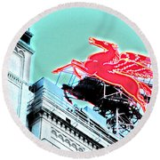 Neon Pegasus Atop Magnolia Building In Dallas Texas Round Beach Towel by Shawn O'Brien