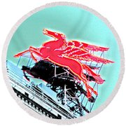 Neon Pegasus Atop Magnolia Building In Dallas Texas Round Beach Towel