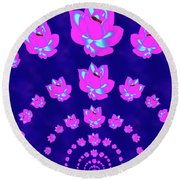 Neon Pink Lotus Arch Round Beach Towel by Samantha Thome